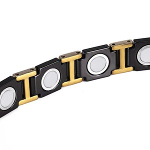 Image 3 - Rainso黒セラミックタングステン鋼磁気健康ケアリンクブレスレットと女性のためのゴールドカラーORB 216 01BKG 2020
