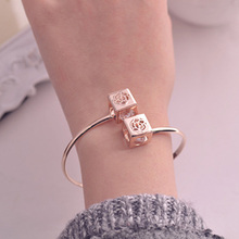 12pcs/lot Hollow Cube Style Rhinestone Cuff Bracelets Alloy Square Bangles Women Anniversary Festival Gifts jb234
