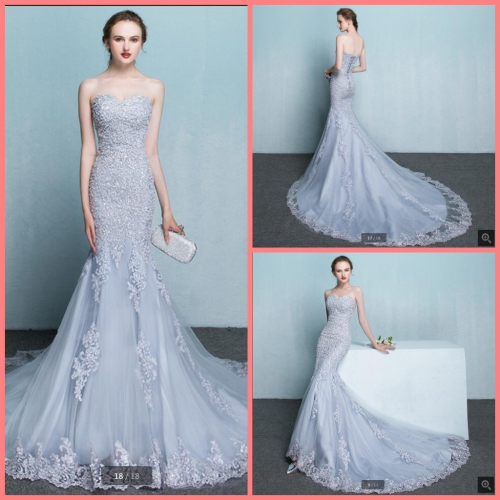 2016 fashion new design mermaid lace appliques   prom     dress   silver court train formal   prom   gowns hot sale cheap   prom     dresses