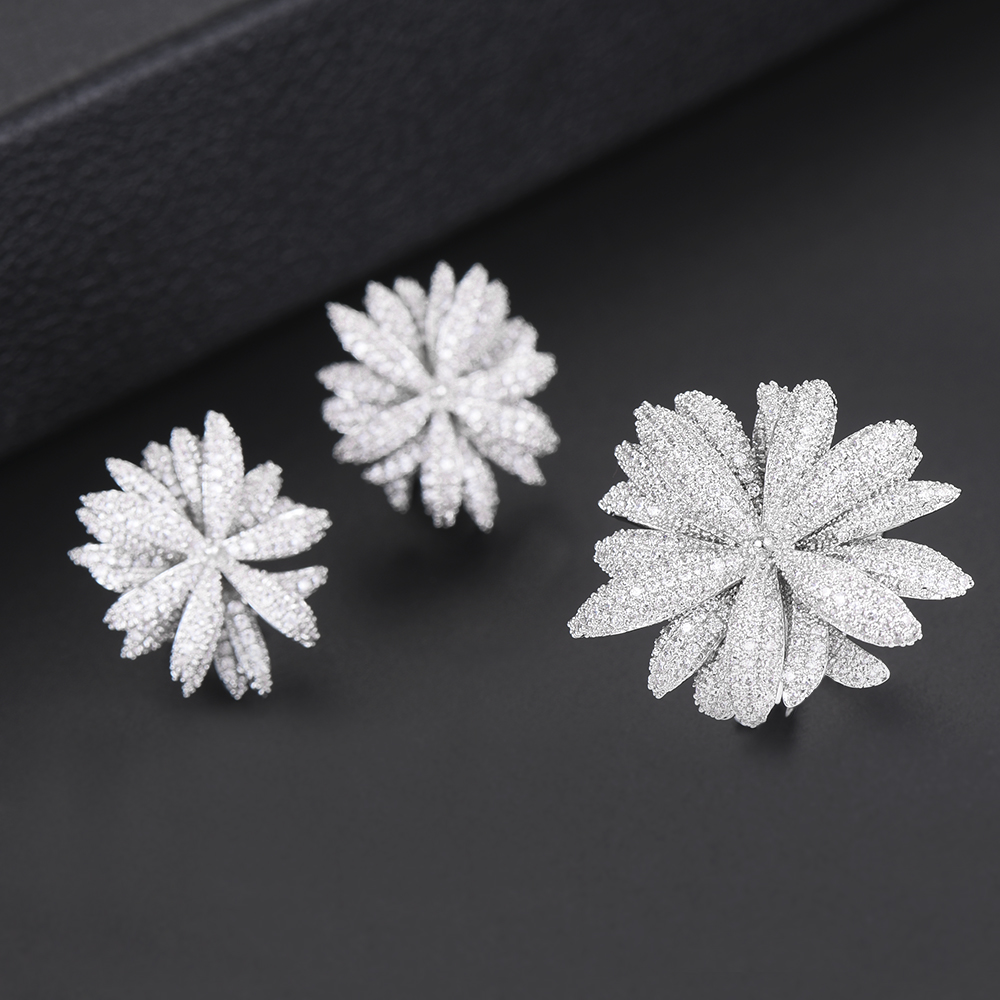 GODKI Newest Famous Brand Luxury Fireworks Daisy Flower Cubic Zironia CZ Jewelry Sets For Women Wedding