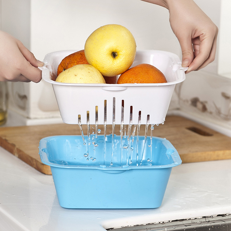 Qm673 Colorful Fruits And Vegetables T Drain Double Fruit And Vegetable  Basket Of Fruits And Vegetables Dripping Sieve Dra In Colanders U0026 Strainers  From ...