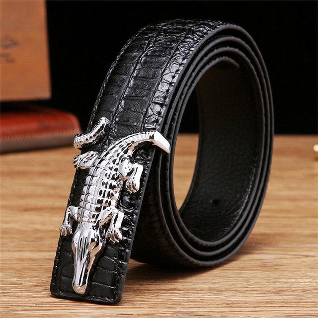 Men's Belts for Business Man Strap Cow Split Leather Crocodile Belt Good High Quality New Designer Buckles Gifts for Male Jeans