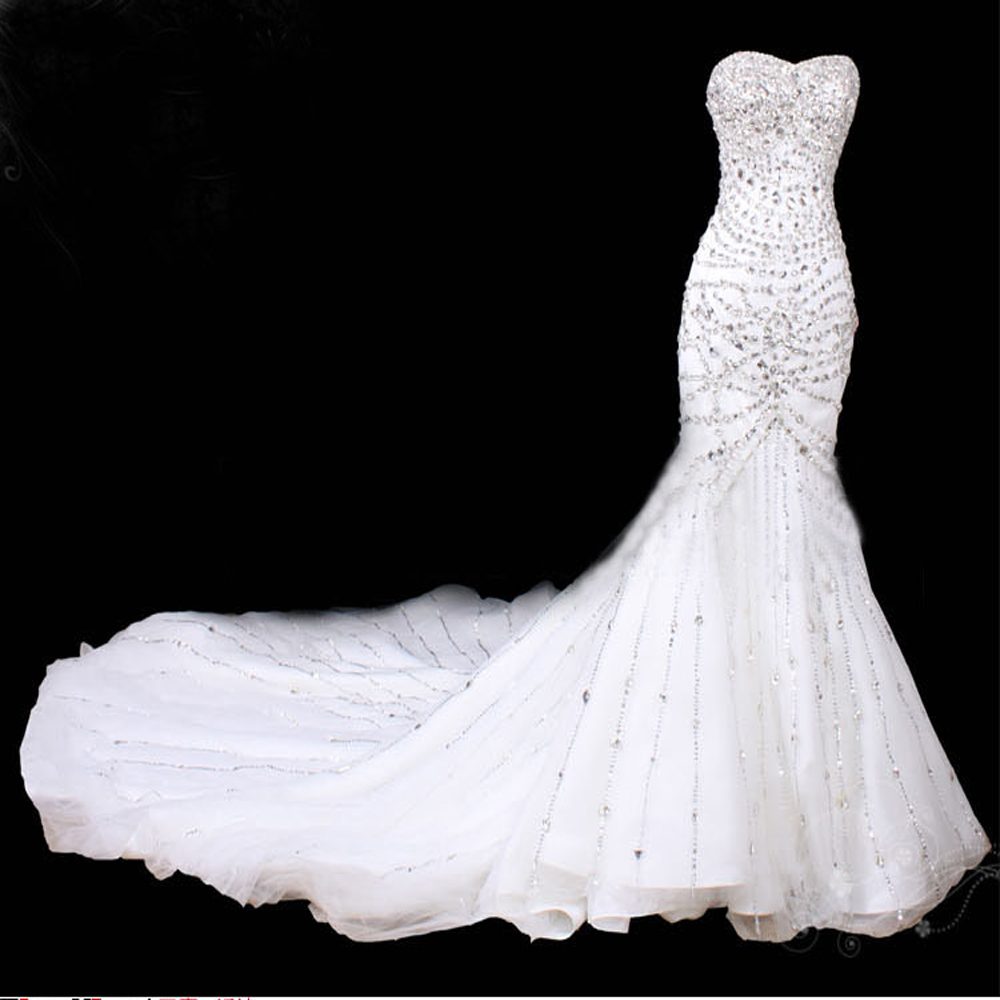 Glitter white mermaid wedding dresses crystal cathedral for White sparkly wedding dress