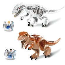 Купить с кэшбэком 28CM NO ORIGINAL BOX Minions Jurassic Dinosaur world Figures Tyrannosaurs Rex Building Blocks baby Toys Compatible with Legoelie