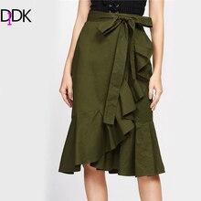 Didk зеленый с завязкой волана отделка Обёрточная бумага юбка осень Асимметричный линия Повседневная юбка Для женщин по колено элегантный Юбки
