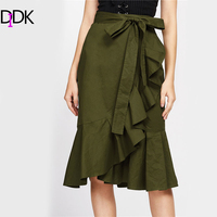 DIDK Green Self Tie Flounce Trim Wrap Skirt Autumn Asymmetrical A Line Casual Skirt Women S