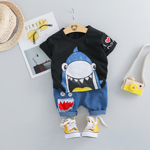 Toddler Baby Kids Boys Cartoon Shark Tops Short Pants Casual Outfits Set