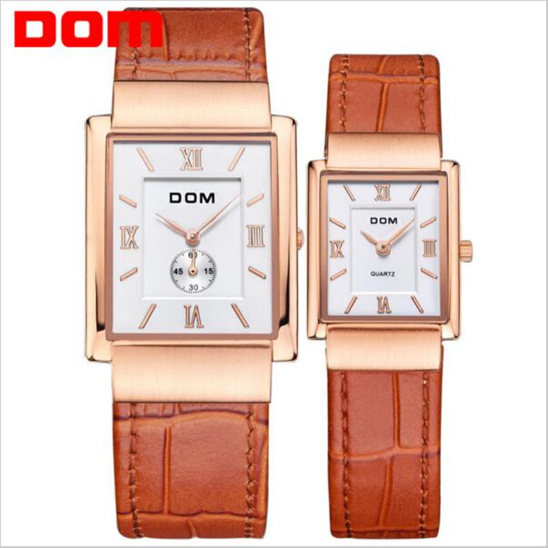 2017 new DOM fashion casual couple watches top brand luxury waterproof quartz leather gold watch men women Square watches reloj