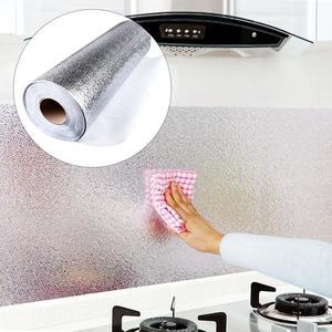 1 рулон алюминиевой фольги, уплотненный самоклеющийся кухонный шкаф, водонепроницаемый, маслостойкий, жестяная фольга, газовая плита, защита, кухонные аксессуары