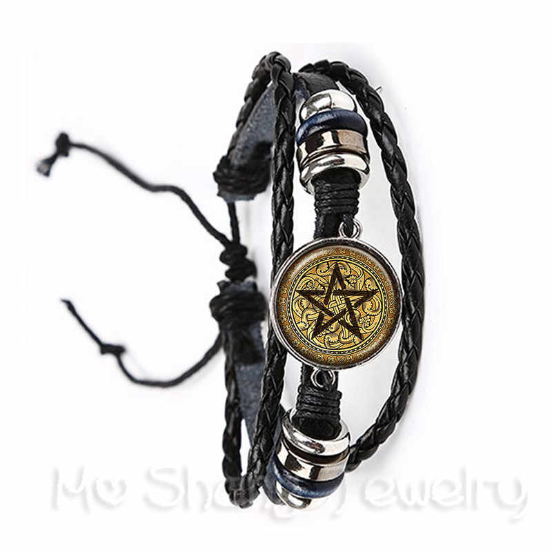 Classic Satanic Baphomet Pentagram Bracelet Gothic Black/Brown Leather Bangle Satanism Evil Occult Pentacle Jewelry Pagan Gift