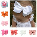 Big hair bows Hair clips solid Polyester flower Duckbill clip boutique hair bow baby hair clips 5.5 inch
