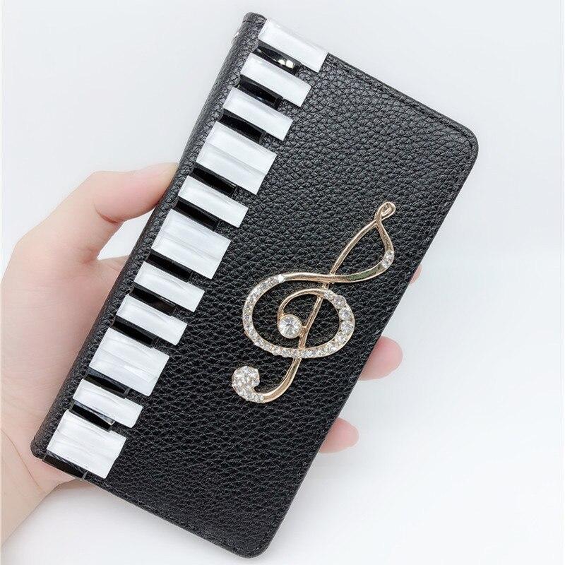 Teclas de Piano Musical Diamante Tampa Da Caixa de Couro Para o iphone XS Max XR X 8 7 6 6 s Plus Samsung galaxy S9/8/7/6 Borda Mais Nota 9 8 5