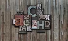 Custom wallpaper mural retro metal English font background wall