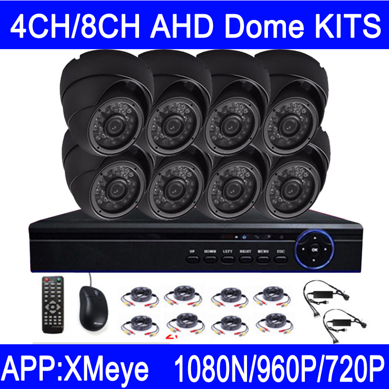 New Hot Sale 720P/960P/1080N Gray/White Metal Case 4CH/8CH AHD Dome CCTV Security Camera KITS Free Shipping