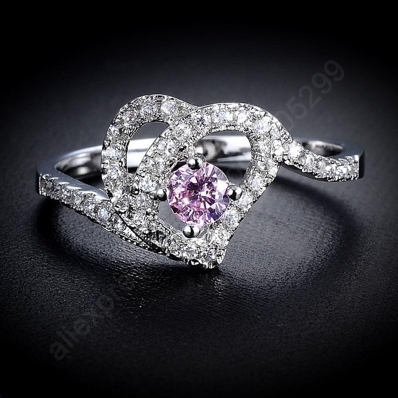 JEXXI font b Luxury b font Middle Light Purple Rings 925 Sterling Silver font b Jewelry