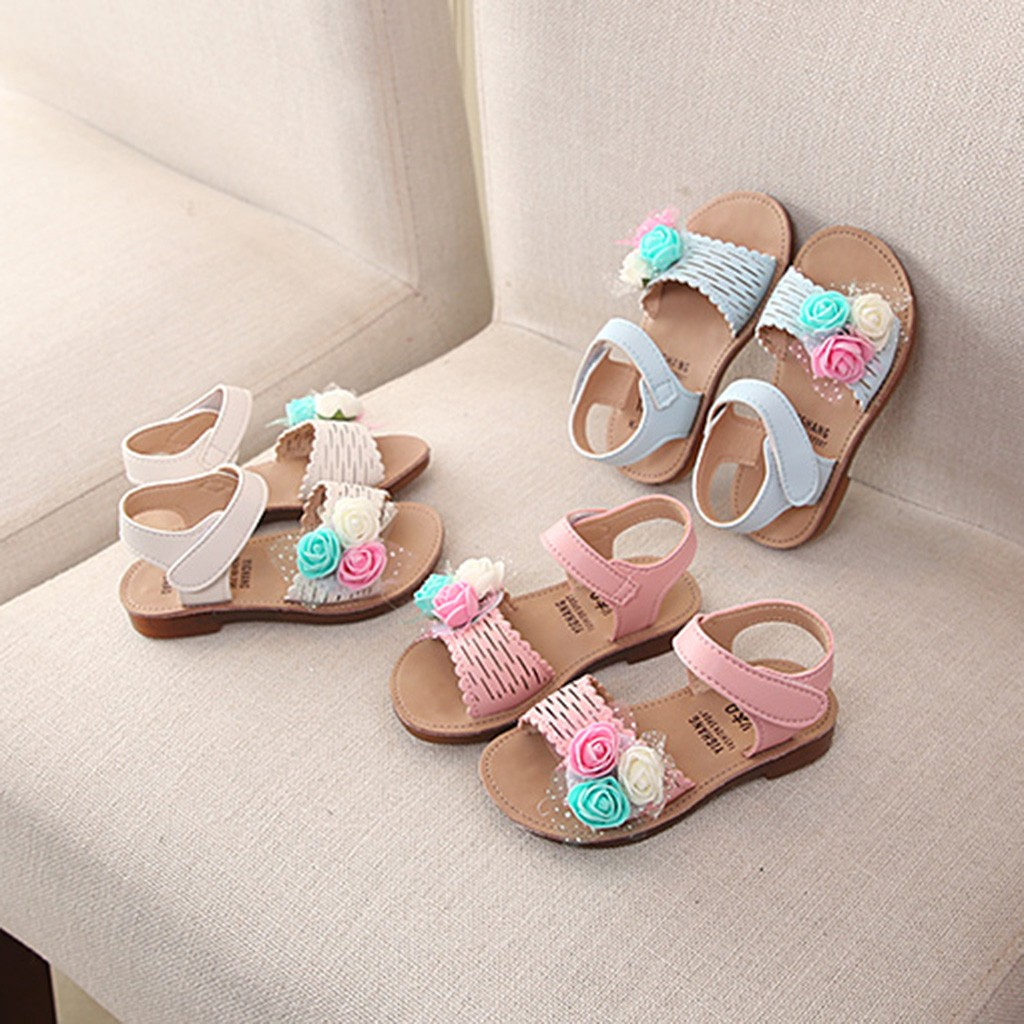 Dynamic Summer Baby Girls Sandals Lovely Cute Flat Beach Sandals Children Kids Girl Princess Dance Beautiful Flower Shoes Casual Soft Relieving Rheumatism And Cold Pearl