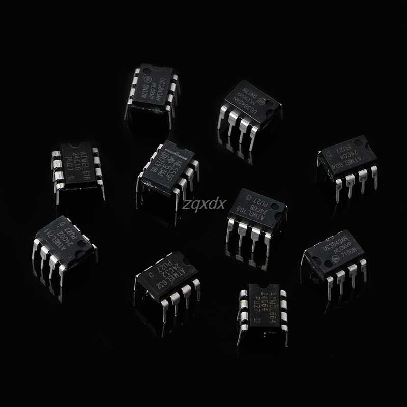 100 قطعة DIP IC عدة NE555 UC3842 UC3843 UC3845 24C02 24C04 24C08 24C16 24C32 24C64 Whosale و دروبشيب