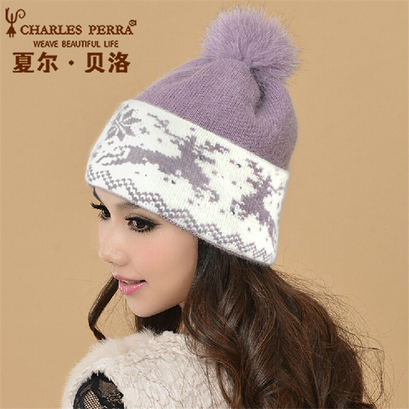Charles Perra Women Winter Hats Thermal Double Layer Warm Wool Knitted Hat Casual Fashion Elegant Beanies With Pom Pom CD90 dickens charles rdr cd [teen] oliver twist