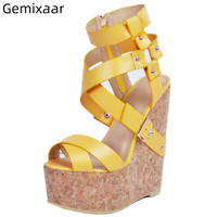 Yellow Wedges Sandals Women Shoes Peep Toe Cross Band Zapatos 4.5cm Platform High Wedges T-show Sandals Sapato Feminino 34-43Yellow Wedges Sandals Women Shoes Peep Toe Cross Band Zapatos 4.5cm Platform High Wedges T-show Sandals Sapato Feminino 34-43