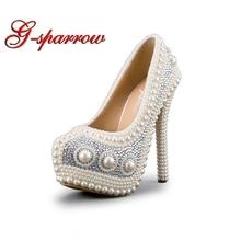 875d91a47 الفاخرة اللؤلؤ حذاء الزفاف الأبيض اللباس الرسمي الزواج العروس أحذية عالية  الكعب منصة الأحذية الأداء prom