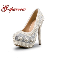 Luxurious Pearl Wedding Shoes White Formal Dress Shoes Marriage Bride Shoes High Heel Platform Performance Shoes Prom Pumps