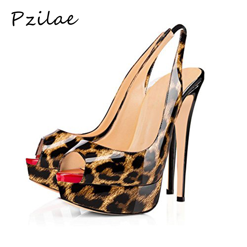 2950d7444c3 Detail Feedback Questions about Pzilae 2019 high heels leopard print pumps  women shoes peep toe wedding shoes bride sexy high heels 16CM Nightclub  shoes ...