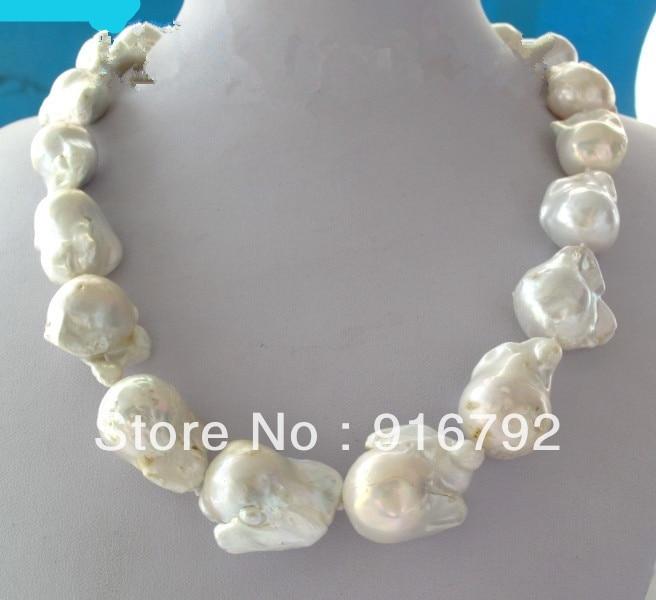 Livraison gratuite > > > > > grande 26 mm blanc insolite Baroque collier de perles disque fermoir 18