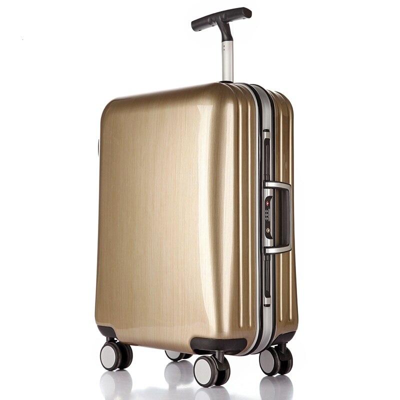 Haute qualité 22/25/29 pouces mode boîtier de chariot cadre en aluminium voyage bagages ABS + valise pc douane serrure entreprise embarquement boîte