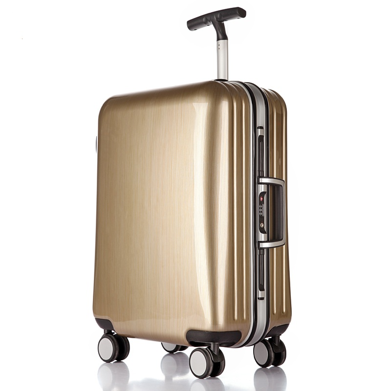 все цены на High quality 22/25/29 inch fashion trolley case aluminum frame Travel luggage ABS+PC suitcase customs lock business Boarding box онлайн