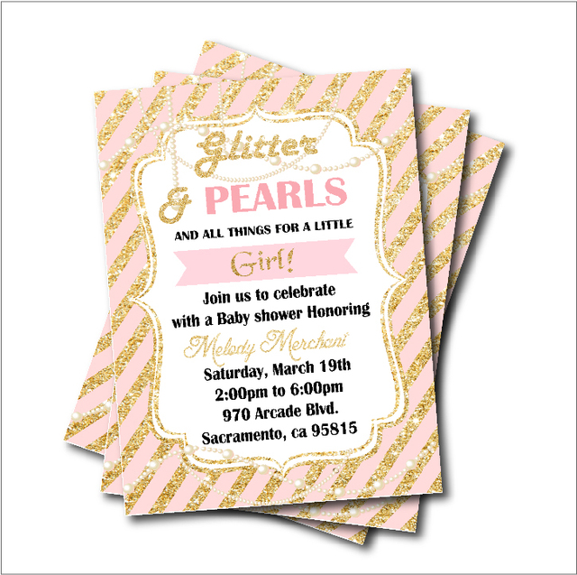 14 pcs/lot Gold glitter pearl Princess Baby Shower Party Invitation
