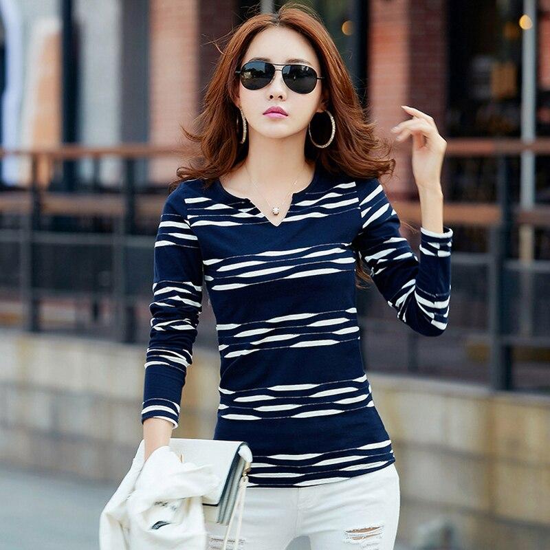 חולצת טי שרוול ארוך לנשים חולצה אישה 2018 Camisetas Mujer חולצת טי פסים נשים חולצות חולצות מזדמנים בתוספת גודל כחול Femme