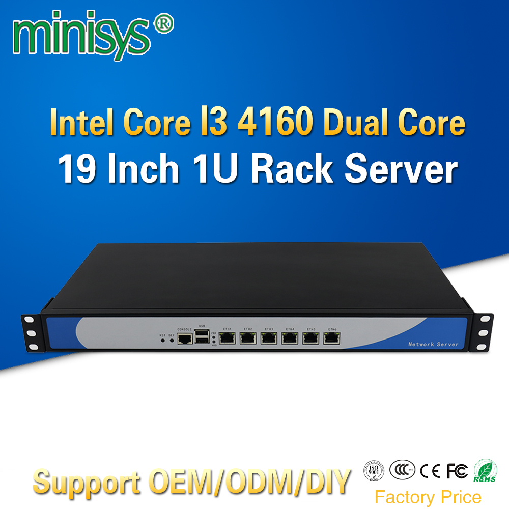 Minisys anpassen 6 Lan Mini Linux 1U Rackmount Server i3 4160 Cloud Computer Pfsense PC Mit VGA CF Karte Slot für Windows 10
