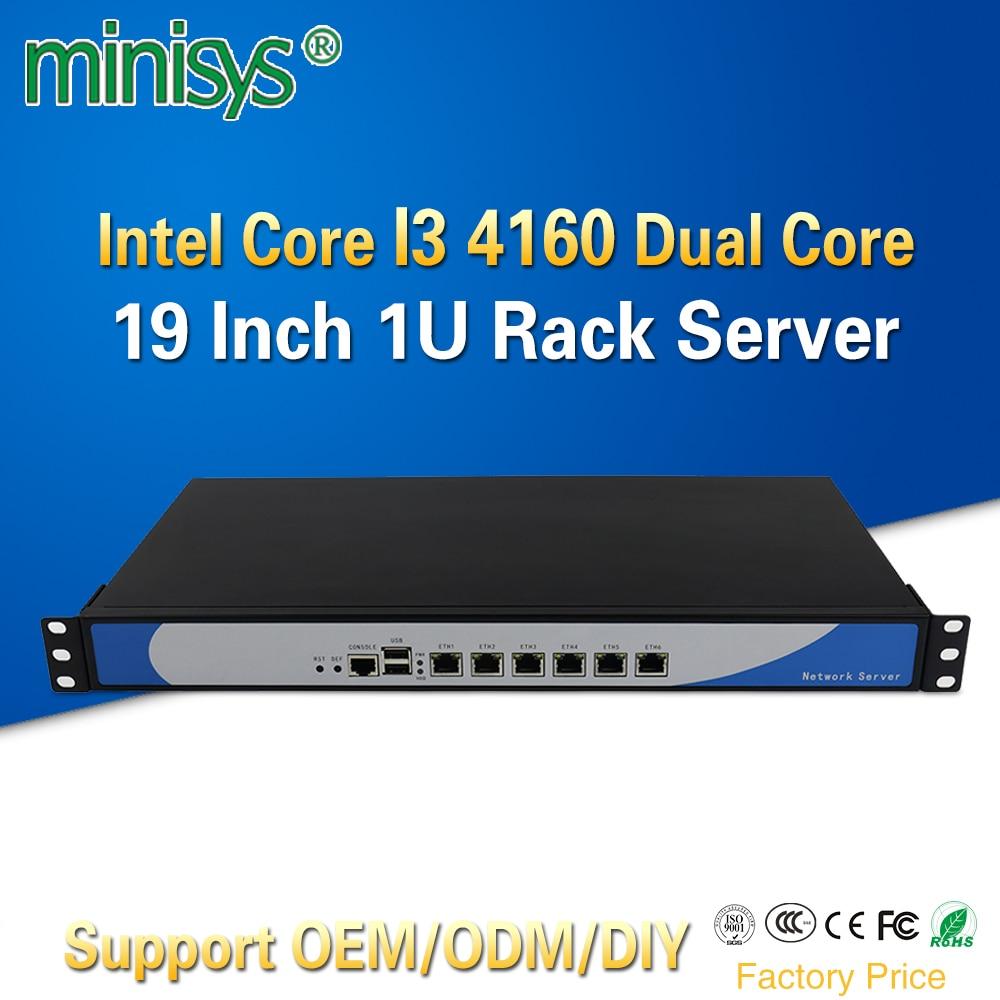 Minisys customize 6 Lan Mini Linux 1U Rackmount Server i3 4160 Cloud Computer Pfsense PC With VGA CF Card Slot For Windows 10