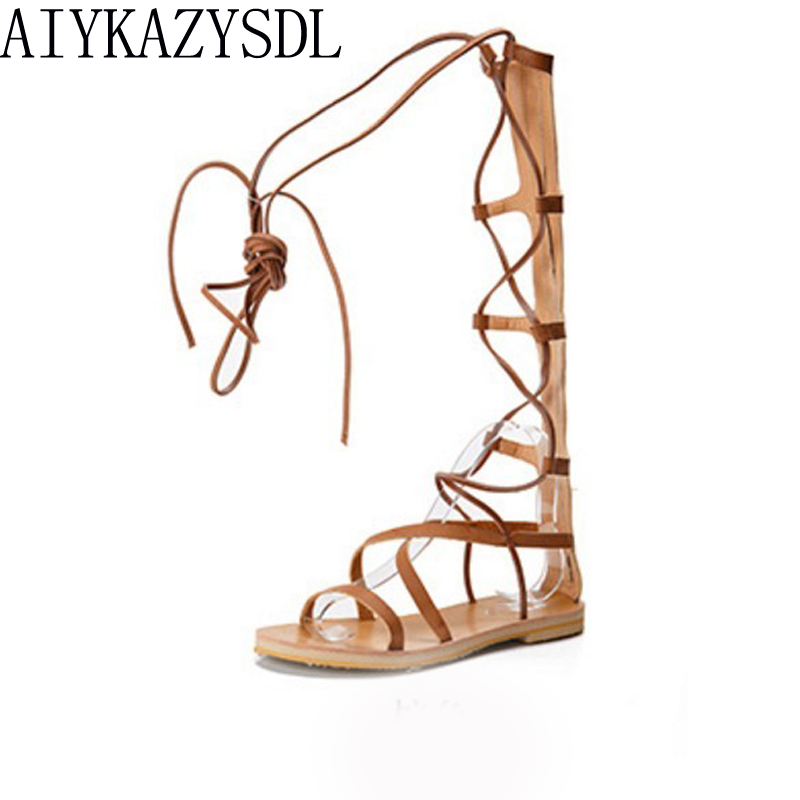 AIYKAZYSDL Women Real leather Strappy Open Toe Knee High Summer Rome Gladiator Boots Flat Heel Sandals Roman Bandage Shoes Woman brand designer faux leather strappy roman goth gladiator thong lace up bandage sandals knee high boots flat shoes free shipping
