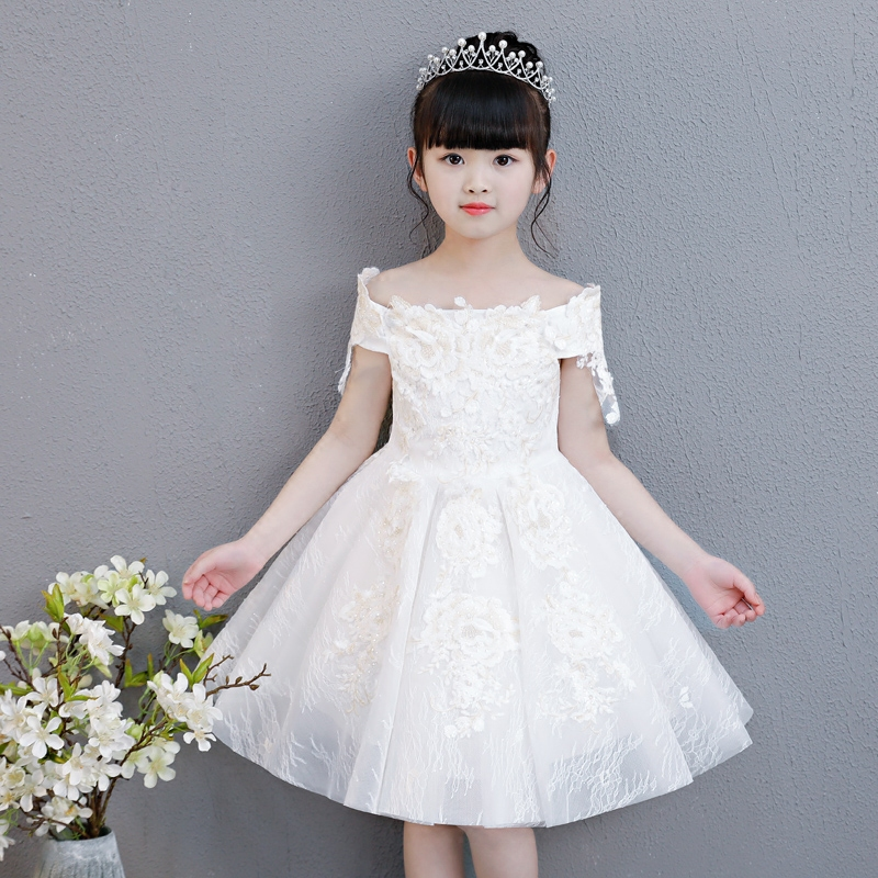 Girls Kids Luxury Shoulderless Flowers Wedding Dress Tulle Babies Princess  Birthday Evening Dress First Communion Gown 2058c7dcd63d