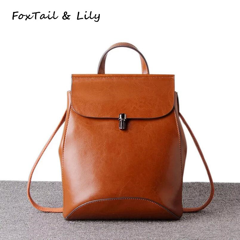 FoxTail & Lily Genuine Leather Backpack Women High Quality School Backpack for Teenage Girls Vintage Casual Female Shoulder Bags free shipping dahua ip camera cctv 6mp wdr ir eyeball network camera with poe ip67 without logo ipc hdw5631r ze