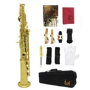 Image 5 - Hoge Kwaliteit LADE Bb Messing Sopraansaxofoon SAX Mooie Gelakt Gold Body en Sleutels