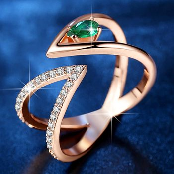 Rose Gold V Letter Open Size Fashion Ring