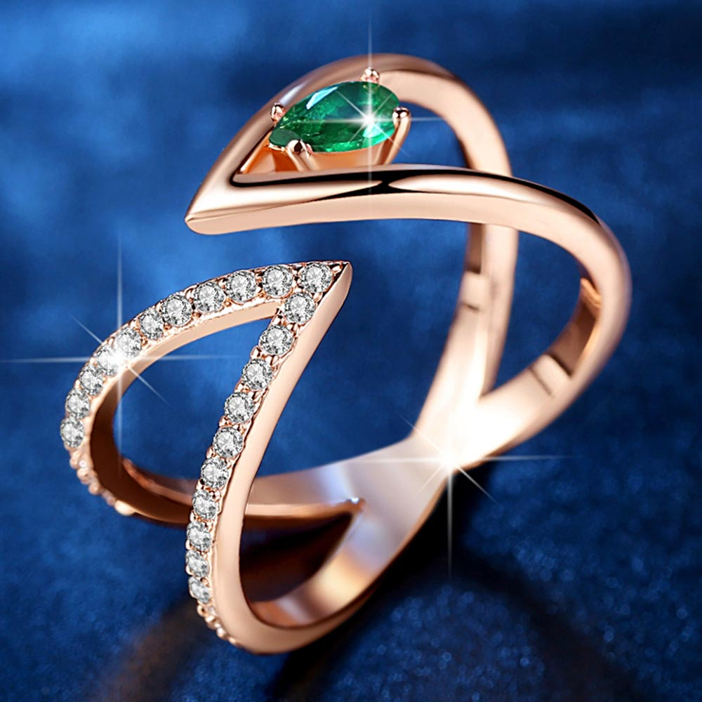 Beiver розовое золото цвет AAA + кубический циркон CZ кластер V письмо открытый размер палец кольцо