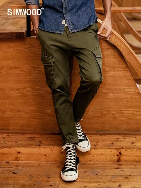 SIMWOOD חדש 2019 מכנסי קזואל גברים אופנה היפ הופ Streetwear כותנה מותג בגדי קרסול אורך מכנסיים זכר מכנסיים גברים 190056