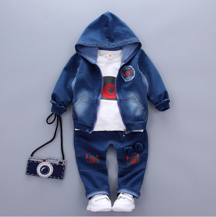 Kids Clothes Baby Boys Set Girls Outfits 2017 New kid tracksuit children 3pcs Denim suit Jacket+Pants+T-shirt toddler clothing 2016 new type of cotton children tracksuit suit girls underwear baby home clothes and children s clothes