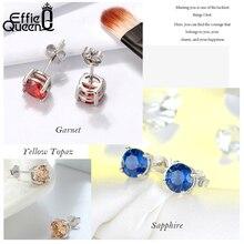 Effie Queen 925 Sterling Silver Earrings For Women With Red Purple Clear Zircon Crystal Stud Trendy Jewelry Gift BE84-W