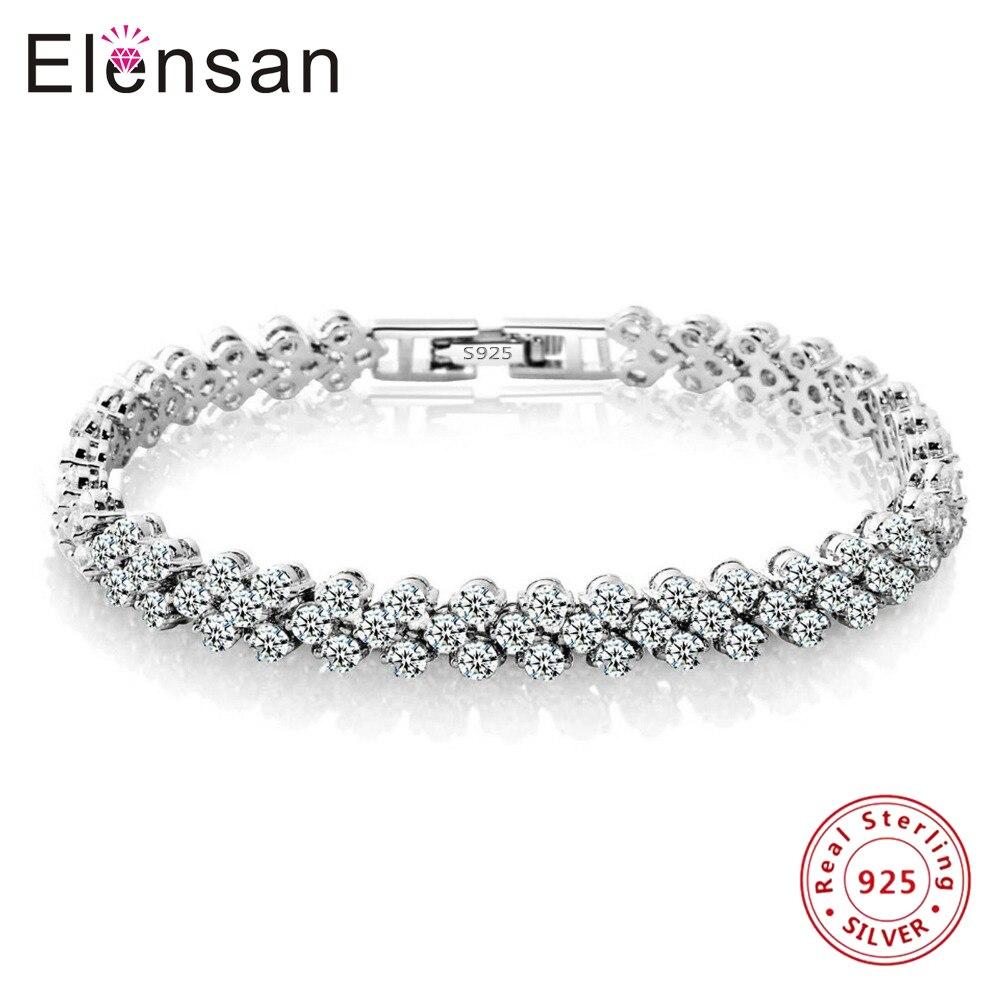 Elensan Roman Bracelets Bangles Women s Platinum Plated Real S925 Sterling Silver Tennis Best Friends Girls