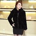 Женщин реального кролика пальто зимой меховая куртка рекс кролика меховой жилет с капюшоном женщины тонкий майка шуба