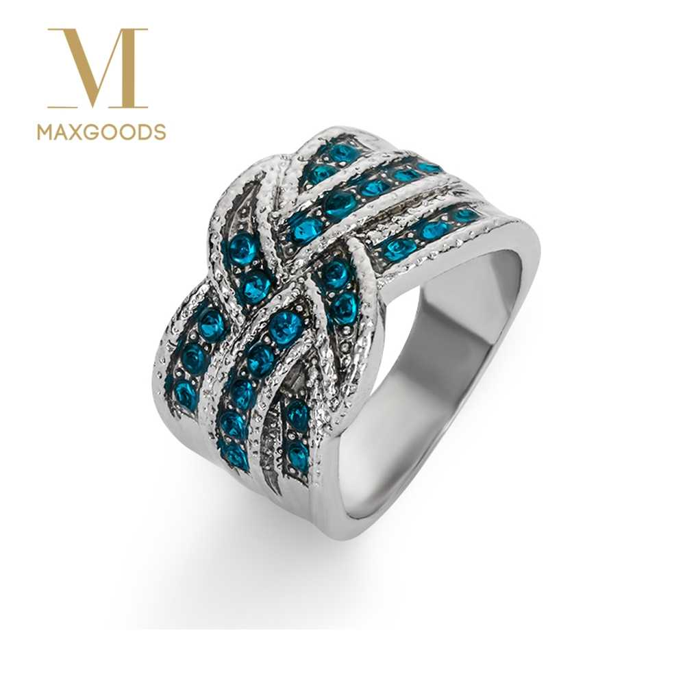 1 Pcs Fashion Full blue Crystal Big Wedding Rings For Women Romantic Ring Femme Silver Color Ring Female jewelry