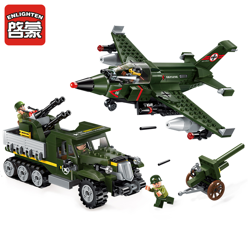 Models building toy ENLIGHTEN 1710 Military Series Air Ground Battle 438Pcs Building Blocks compatible with lego toys & hobbies