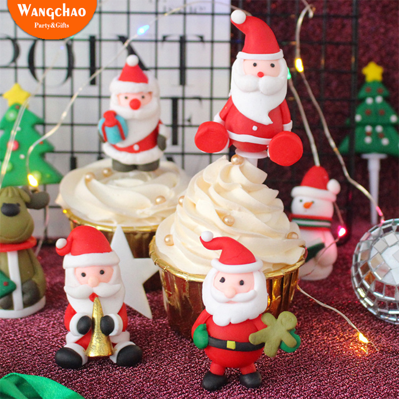 Us 1 32 49 Off Christmas Cake Topper Santa Claus Snowman Cupcake Topper Merry Christmas Xmas Cake Decoration Gift For New Year 2019 14 Styles In