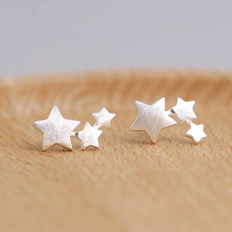 Pendientes de tuerca de estrella elegantes de Color plateado para mujer, joyería de fiesta, pendientes boucle d'oreille femme eh907