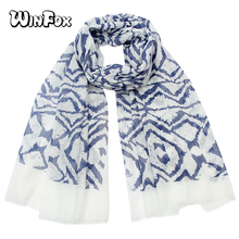 Winfox Fashion Spring Autumn Navy Long Soft Stripe Scarf Women Viscose Hijab Scarves Shawl Female Foulard Femme