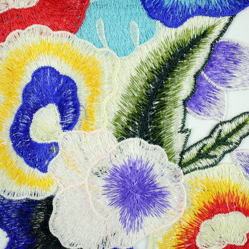 "3.25/"" Blue Organsa Flower Embroidery Applique Patch"